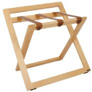 Compact Wooden Luggage Rack with Backstand and Leather Straps, Natural